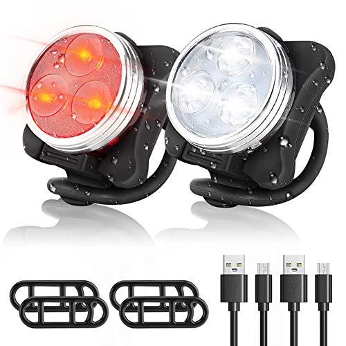 WOTEK Luci per Bicicletta LED Ricaricabile USB - Luci Bici Anteriore e Posteriore Luci MTB Impermeabile 4 modalità di Luminosità 350LM Super Luminoso Luce Bici Avvertimento per Bici Strada e Montagna