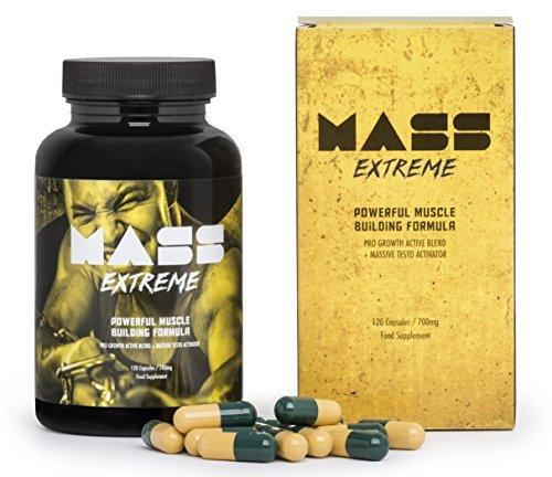 MASS EXTREME Premium - Das Supplement für den Aufbau von Muskelmasse, spektakuläre Entwicklung der Körperform, ideal für jeden Mann! Basispaket 120 Kapseln / 700 mg
