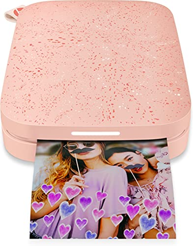 HP Sprocket 200 - Impresora fotográfica portátil (tecnología de impresión Zink, Bluetooth, fotos 5 x 7.6 cm), blush