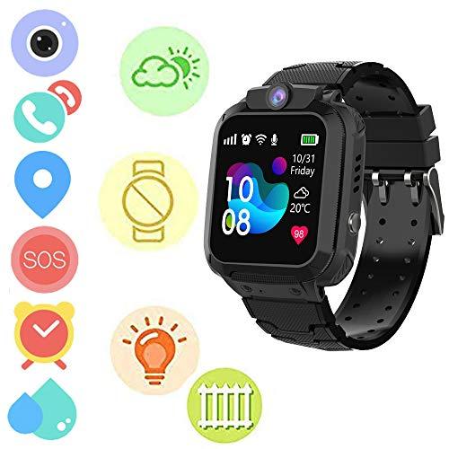 Winnes S12 - Reloj inteligente impermeable para niños GPS Tracker SmartWatch SOS Call para niños Anti Lost Monitor de bebé reloj de pulsera para niños niñas (NEGRO)