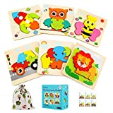 Luclay Holzspielzeug, 3D Kinder Holzpuzzle Steckpuzzle Holz Montessori Spielzeug Lernspielzeug Pädagogisches Geschenk für Kinder 2 3 4 5 Jahre,Weihnachten...