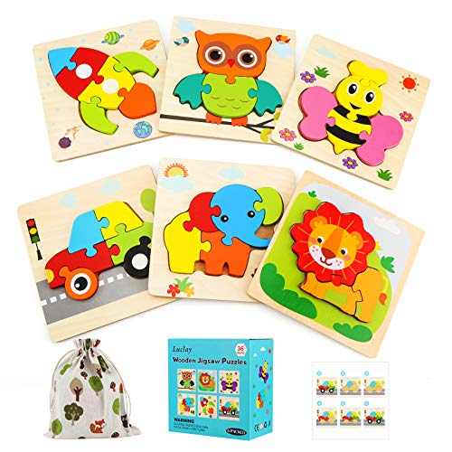 Luclay Puzzles de Madera Educativos, Juguetes Montessori para Bebé Niños 2 3 4 5 años, Preescolar Juguetes Regalos, Regalo De cumpleaños, Navidad (6 Piezas)
