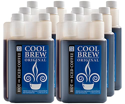 CoolBrew Original Fresh Cold Brew Liquid Concentrate - Dark Roast, Gourmet Arabica Beans, For Iced or Hot Coffee, Unsweetened, No Preservatives, 6 x 1 Liter Bottles, Makes 32 Cups per Bottle