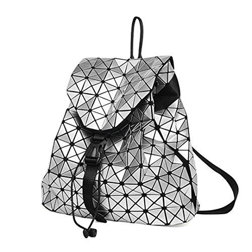 Zaini luminosi Donna Ragazza Daily Zaino Geometria Confezione Paillettes Pieghevole femminile Bao School Bags Silver
