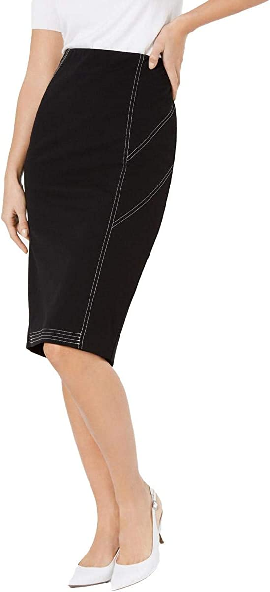Alfani Womens Contrast Trim Split-Hem Midi Skirt