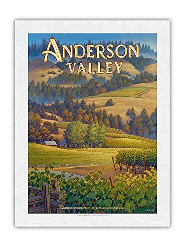 Vignobles d'Anderson Valley – Vignoble Navarro – Costa Norte AVA – Art de País del vino de California de Kerne Erickson – Papel de arroz con impresión artística 43 x 56 cm