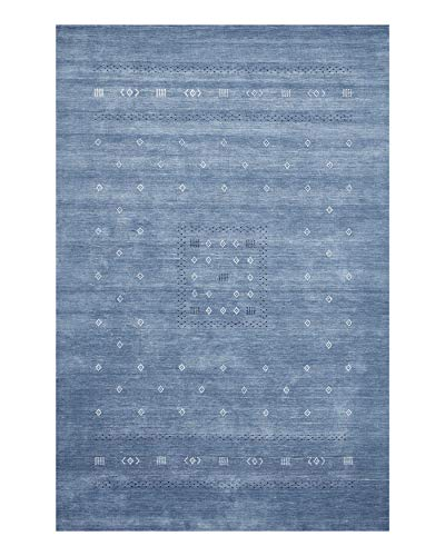 Solo Rugs Simi Transitional Gabbeh Handmade Indoor Home Area Rug, 8' x 10', Sapphire Blue