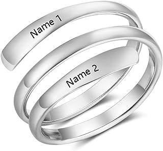 Personalizado Anillos Plata Mujer Ajustables 2 Nombre Grabado BFF Anillos para Madre Pareja Regalo en Aniversario Día de San Valentín