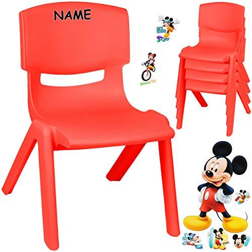 alles-meine.de GmbH Kinderstuhl / Stuhl - Motivwahl - rot + Sticker - Disney Mickey Mouse - inkl. Name - Plastik - bis 100 kg belastbar / kippsicher - für INNEN & AUßEN - 0 - 99 ..