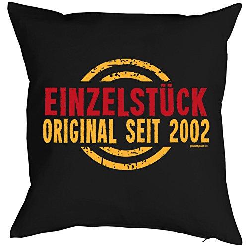 Mega-Shirt zum 18. Geburtstag Geschenkidee Kissen mit Füllung Einzelstück Original seit 2002 Polster zum 18. Geburtstag für 18-jähirge Dekokissen