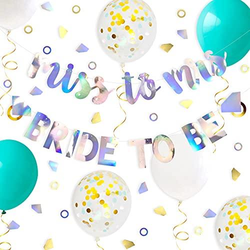 Juego de decoración para la ducha de novia de oro y verde azulado, cartel con anillo de diamante, globos azules, para bodas, despedidas de soltera, fiesta de compromiso, decoración