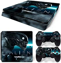 PS4 Slim Skin Decal Sticker Alien Custom Design + 2 Controller Skins Set
