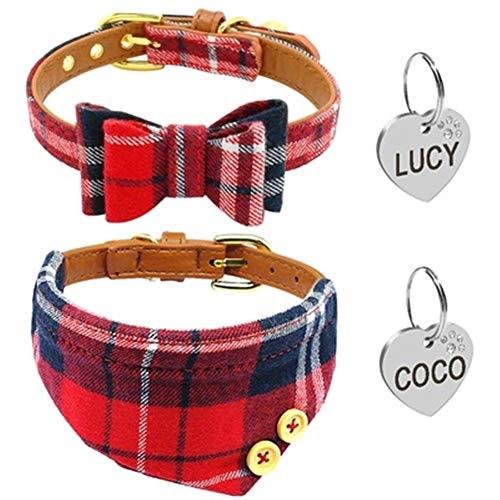 WEIZI Juego de bandana para cachorro, perro, gato, de algodón suave, de piel sintética, con diseño de lazo, con campana de identificación grabada para mascotas pequeñas (color: rojo, tamaño: S)