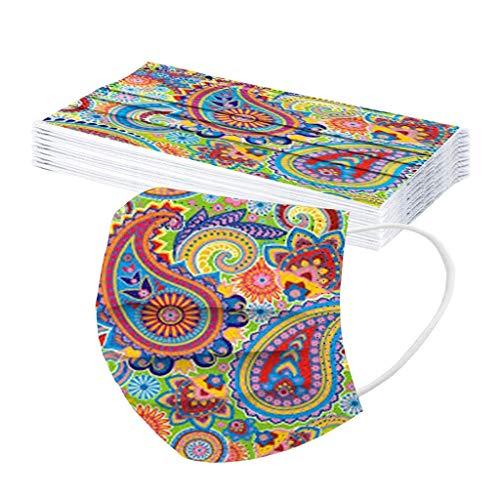 Sonebot 3 Ply Elastic Earloop Dust-Mask Fashion Cashew Flower Digital Printed Disposable Breathable Face Bandana 50/10