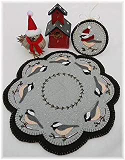 Cheerful Chickadees Penny Rug Kit Pre Cut and Pre Washed Applique Kit Bird Pattern