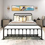 12 Inch Queen Size Bed Frame / Mattress Foundation / Box Spring Replacement with Headboard / Heavy Duty Metal Slat Support / Ultra-Large Under-Bed Storage, Black