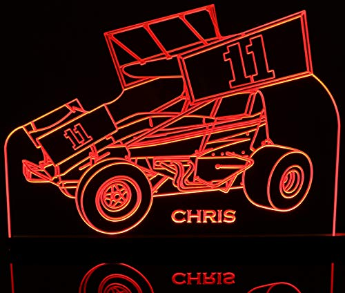 """Sprint Wing Car (Choose Your Number to put on wings & Name below car) Desk Style, or Flat to the Wall Mount Award Trophy Logo Lighted Edge Lit Light Up Sign 11-21"""" 15-30 Leds 5318 Made in the USA"""