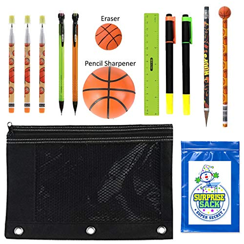 Kids Sports Themed Stationary Accessories-Sports Pencils, Erasers & More - Unique Back to School Supplies, Stocking Stuffers, Easter Basket Fillers (Black Pouch-Basketball)