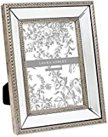 Laura Ashley 5x7 Champagne Mirror Bead Picture Frame, Classic Mirrored Frame with Beaded Border, Wall-Mountable, Made...