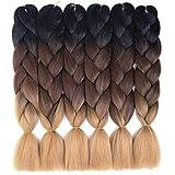 6 Packs Ombre Braiding Hair Kanekalon Jumbo Braiding Hair Extensions 24 Inch Jumbo Braids for Twist Crochet Braiding Hair for Women (Black-Brown-Light Brown)