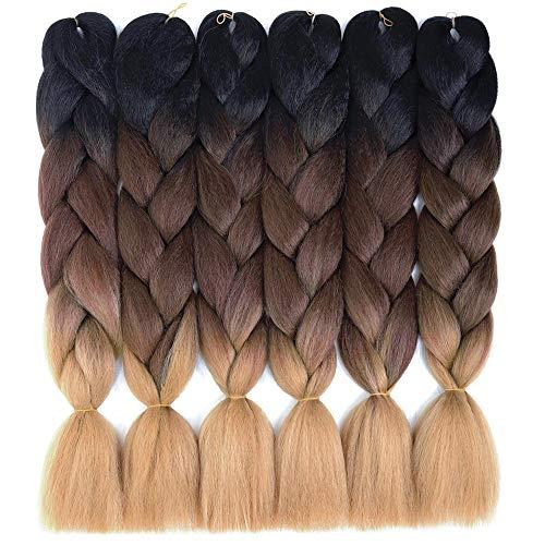 6 Packs Amchoice Ombre Braiding Hair Kanekalon Jumbo Braiding Hair 24 Inch Hair Extensions for Braiding Hair (Black-Brown-Light Brown)