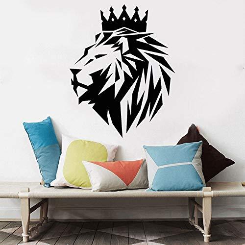 Geometría abstracta Corona Rey León Logo Selva salvaje Animal Bestia Etiqueta de la pared Calcomanía de vinilo Niño Niños Dormitorio Sala de estar Estudio Oficina Decoración para el hogar Mural