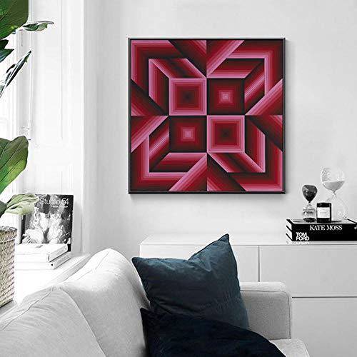 EDGIFT2 Moderne Victor vasarely Plakat abstrakte Geometrie Leinwand Malerei Wand dekorative Kunst für Wohnzimmer Cuadros Wohnkultur Quadrat 50x50cm ohne Rahmen