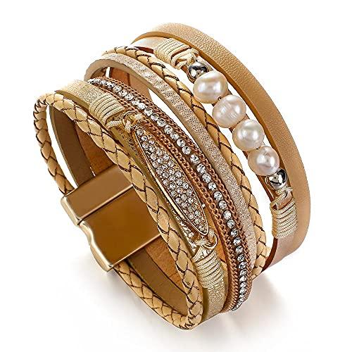 HMANE Pulseras de Cuero de Cristal de Perlas para Mujer, Moda, Diamantes de imitación Simples, Encanto Trenzado, brazaletes, joyería, Regalo