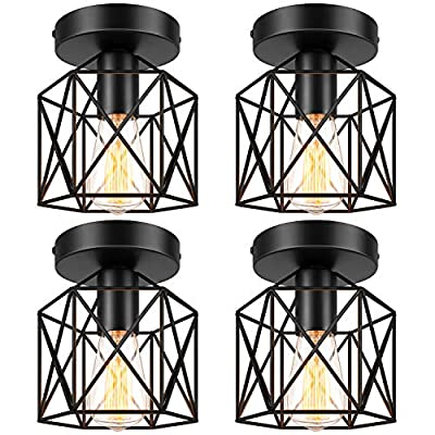 Semi-Flush Mount Ceiling Light, E26 E27 Retro Industrial Ceiling Light Fixture, Vintage Black Metal Cage Farmhouse Lighting for Porch Hallway Bedroom Kitchen Stairway, 4 Packs