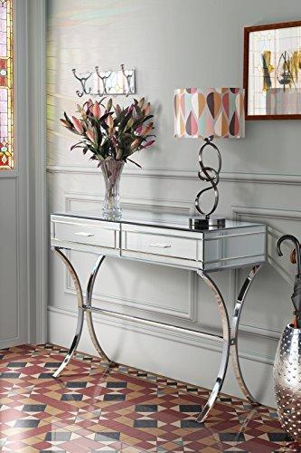 My-Furniture Aurelia Verchromte und Verspiegelte Konsole/Schminktisch im Barcelona-Stil