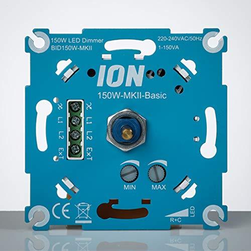LED-Dimmer 150W MK-II Basic Ion Industries Dimmschalter Dimmbare Led - Wandschalter mit zeitlosem Design - Professioneller dimmbarer Lichtschalter - Drehdimmer - Dimmer - Einbau -