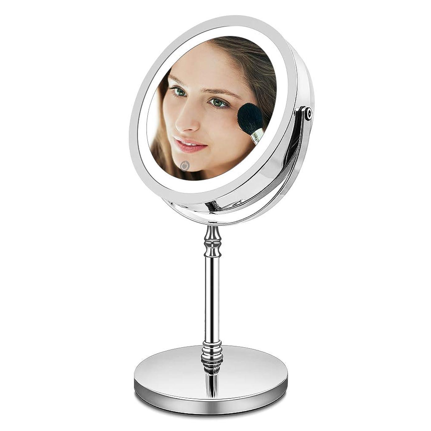 スロベニアコンチネンタル海嶺AMZTOLIFE 10倍拡大鏡+等倍鏡 化粧鏡 ライト付き 卓上鏡 ミラー 鏡 化粧ミラー メイクアップミラー スタンドミラー 360度回転 明るさ調節 日本語取扱説明書付き (タイチー)