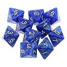 ノーブランド品  全8色 10個入 D8多面体 8面 ダイス サイコロ - 青