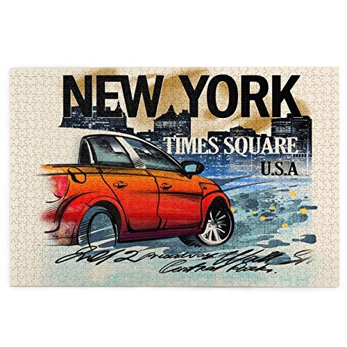 Sierra calar de 1000 piezas,Coche rojo pintado en una noche en Nueva York.Estados Unidos.Dibujo a mano.Lluvia,,juegos rompecabezas imágenes para adultos y niños Regalo graduación de boda familiar