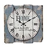 Stonebriar Worn Blue 15' Square White Wall Clock