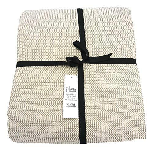 ENERGY COLORS textil-hogar Andra - Colcha Cubre-SOFÁ Foulard Plaid Cama Liso (220_x_260_cm, Crudo)