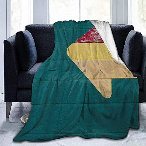 HUA JIE Puede Utilizar para Sofá Manta de Franela de Lana Suave, Verde, geométrico, geométrico, Estilo rústico, Colorida Flecha Grande, para sofás/sofá/sillas/sofá liviano