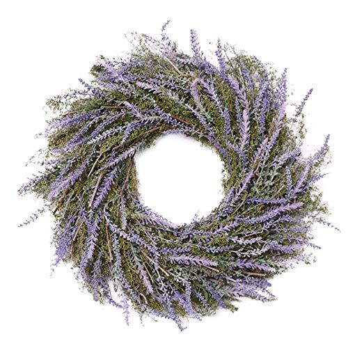 SMLJFO Corona de lavanda artificial de 45 cm con hojas verdes, guirnalda de primavera y verano, para puerta delantera, hogar, pared, decoración de boda, color morado