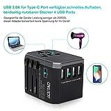 LOETAD Reiseadapter Travel Adapter Universal Reisestecker mit 4 USB Ports 1 Typ-C und 1 AC Buchse weltweit Internationale Reise Stecker für 150 Ländern (Verpackung MEHRWEG) - 4