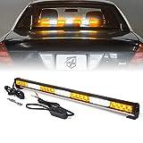 Xprite 31.5' Inch 28 LED Strobe Emergency Traffic Advisor Warning Light Bar w/ 13 Flashing Patterns for Firefighter Vehicles Trucks Cars - White & Amber/Yellow