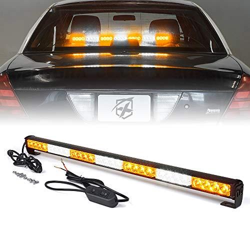 Xprite 31.5 Inch 28 LED Strobe Emergency Traffic Advisor Warning Light Bar w/ 13 Flashing Patterns for Firefighter Vehicles Trucks Cars - White & Amber/Yellow