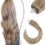 Ugeat 55cm Micro Ring Extensiones de Cabello Humano 100 Remi Brasilenas del Pelo Derecho Human Hair Color del Piano Ceniza Marron a Rubia #P18/613 50g