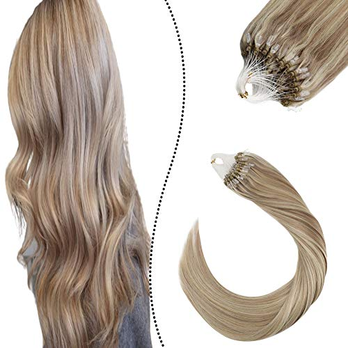 Ugeat 20 Pollice/50cm Estensioni Micro Loop Anello Capelli Veri 1g/Filo P#18/613 Biondo Cenere Highlight to Biondo Bleach 50Grammo Micro Loop Human Hair Extension