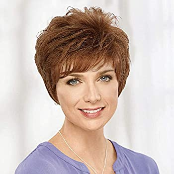Emmor Short Auburn Human Hair Wigs for Women Blend Pixie Cut Wig With Bang,Natural Daily Use Hair  Color 30