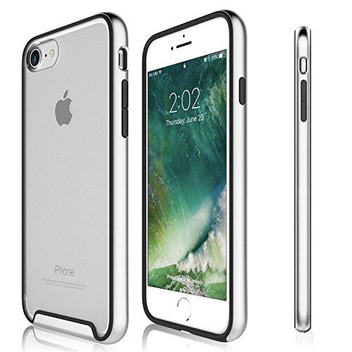 Funda iPhone 8, iPhone 7 - KHOMO Carcasa Transparente Triple Protección con Borde Bumper Case de Colores Antichoque para el Nuevo Apple iPhone 8 - Plateado