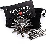 Medallón de The Witcher 3 Wild Hunt + collar cadena con cabeza de lobo original