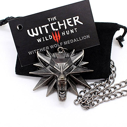 Medallón de The Witcher 3 Wild Hunt + collar cadena con cabeza de lobo original