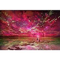 WJYMJJ 数字油絵 赤いオーロラ デジタル油絵 数字油絵 大人の子供の ためギフト 手塗DIYりデジタル油絵 - 40* 50cm(フレームレス)