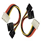 2 Pack 4 Pin IDE Female Molex to Dual SATA Power Y-Cable Adapter 8.67 Inches