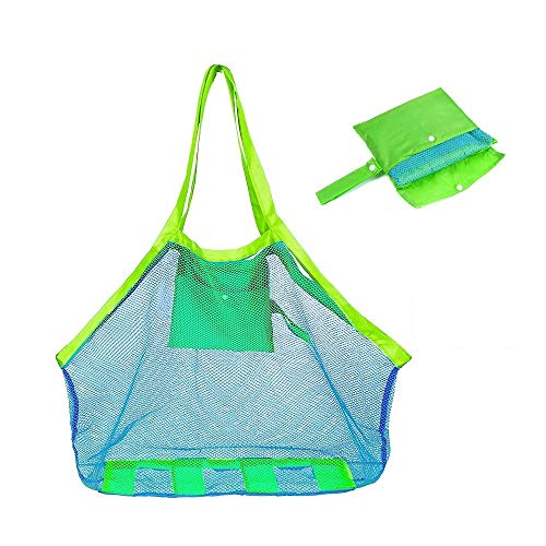 COOLGO XL Large Mesh Beach Tote Bag for Outdoor Swim Pool Childrens and Kids Toys Travel Towels Sand Away Organizer Storage Bags, Foldable & Lightweight